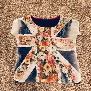 Navy multi-color Floral Union Jack Sheer Top